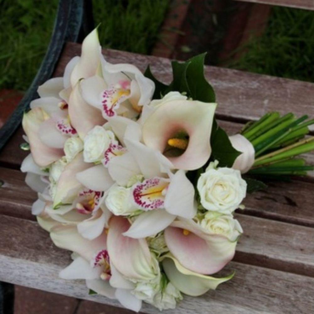 Букет свадебный орхидей калл, цветов куркино букеты