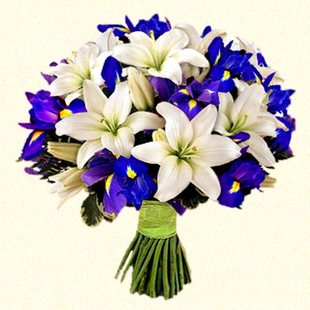 Сочетание лилий с другими цветами в букете, букет невесты