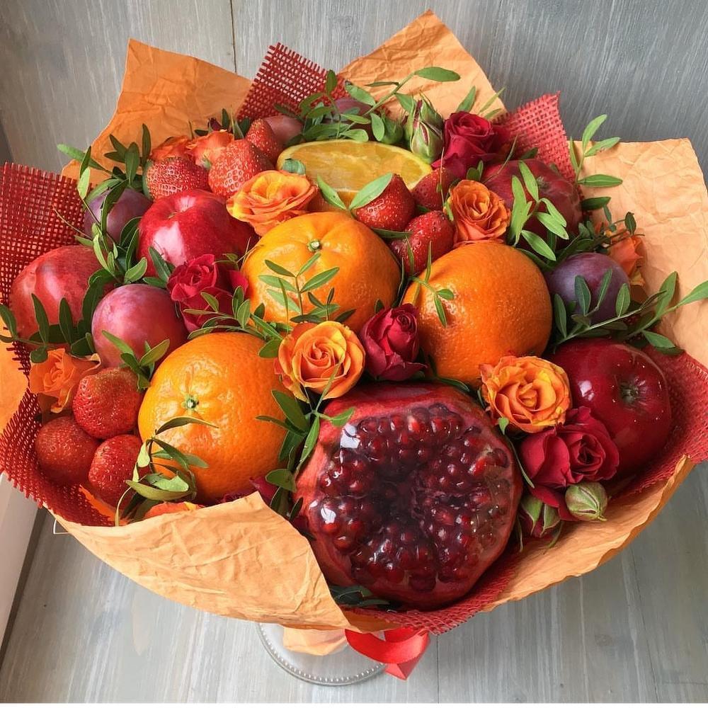 Цветы, как сделать осенний букет из фруктов