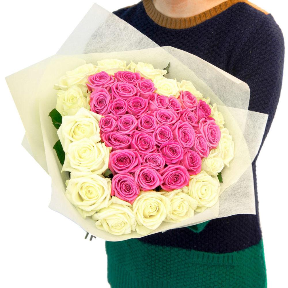 Цветы для, букет из 51 роз с сердцем