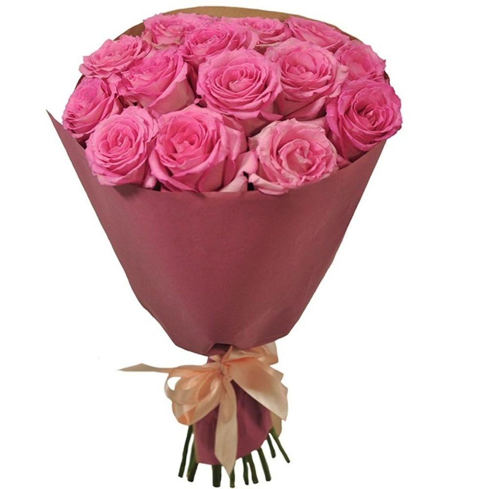Букет из 15 розовых роз фото