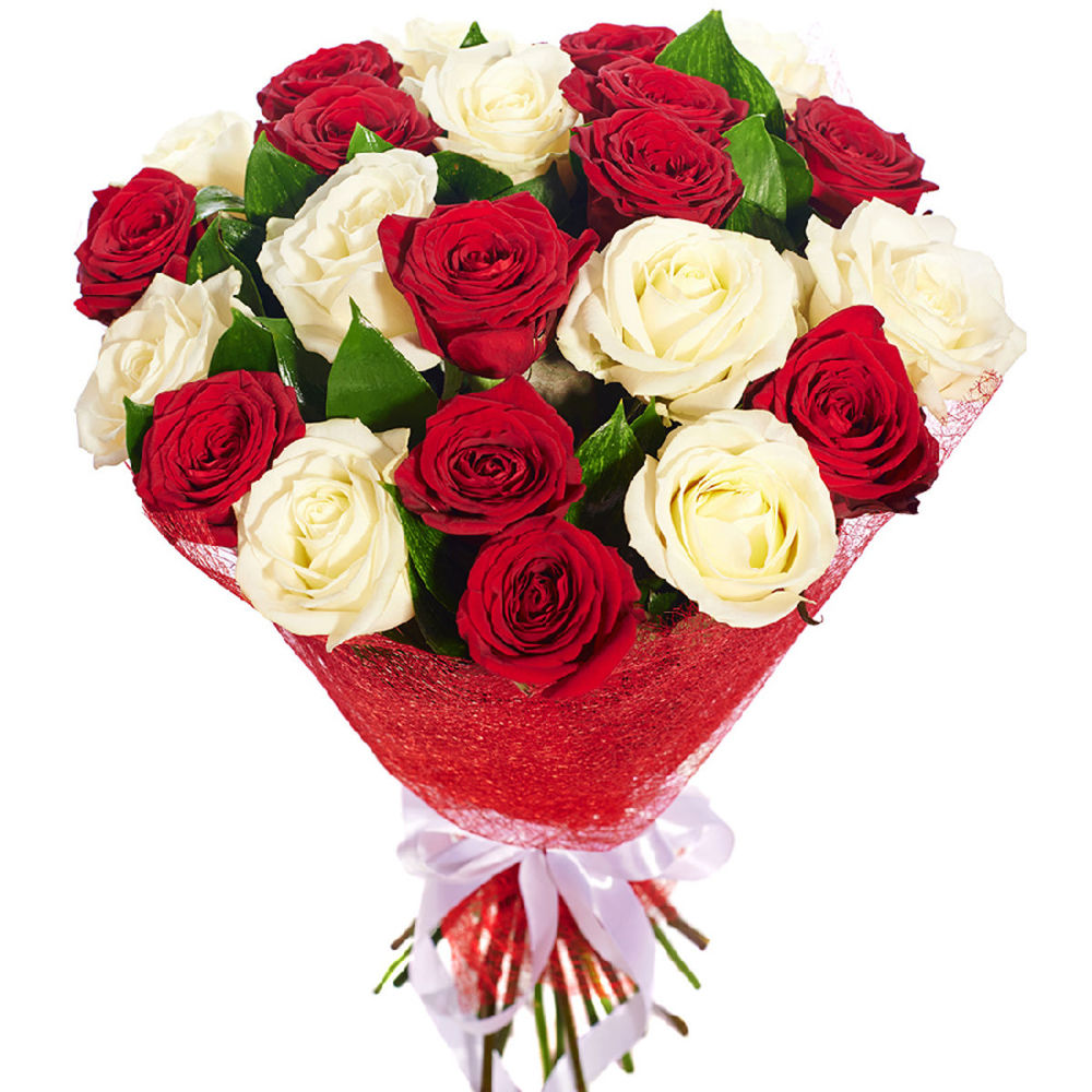 Букет сборка из роз красных и белых