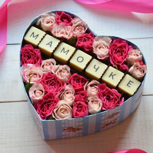 Коробочка с шоколадом и цветами для любимой мамы: букеты цветов на заказ Flowwow