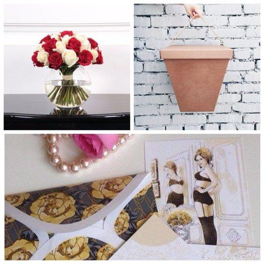 Букет из красных и белых роз в вазе Красное-белое: букеты цветов на заказ Flowwow