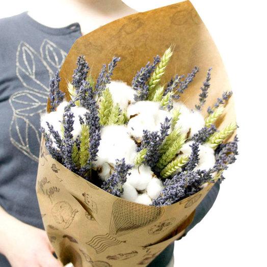 Букет из лаванды хлопка и пшеницы: букеты цветов на заказ Flowwow