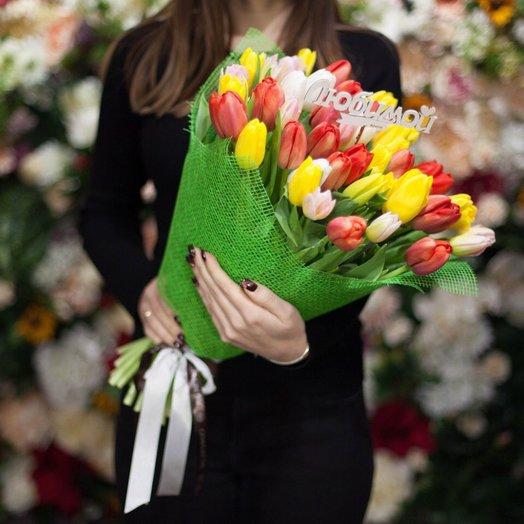 "Тюльпан Микс ""Любимой"" : букеты цветов на заказ Flowwow"
