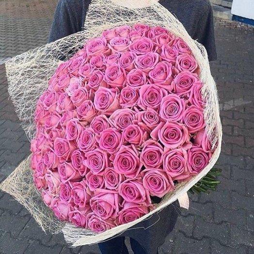 Букет из 101 розовой розы Аква 50см: букеты цветов на заказ Flowwow