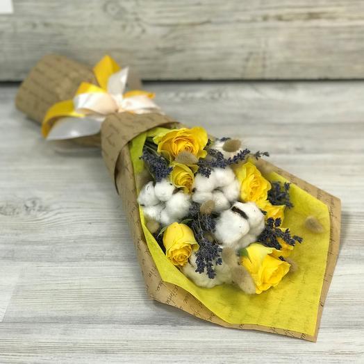 Розы желтые 7 шт, лаванда, лагурус, хлопок N303