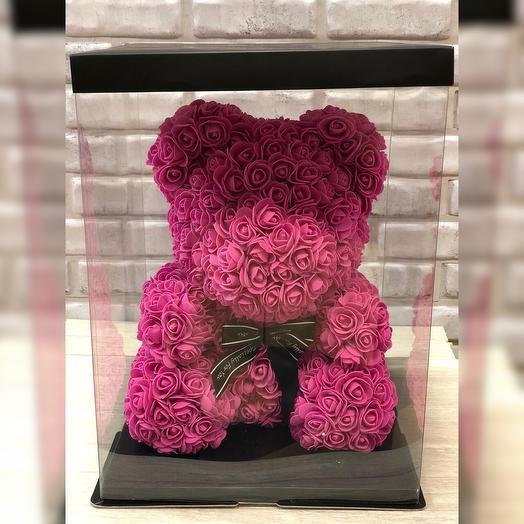 Розовый мишка из роз: букеты цветов на заказ Flowwow