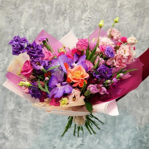 Эффектный букет из роз и орхидеи ванда
