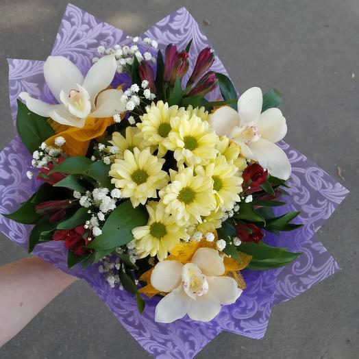 Стильный букет с орхидейками 😍: букеты цветов на заказ Flowwow
