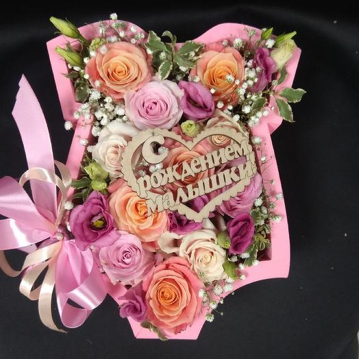 Композиция - С рождением девочки: букеты цветов на заказ Flowwow