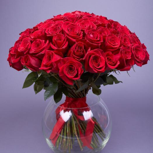 101 роза Фридом, 60 см. Эквадор, vip-класс