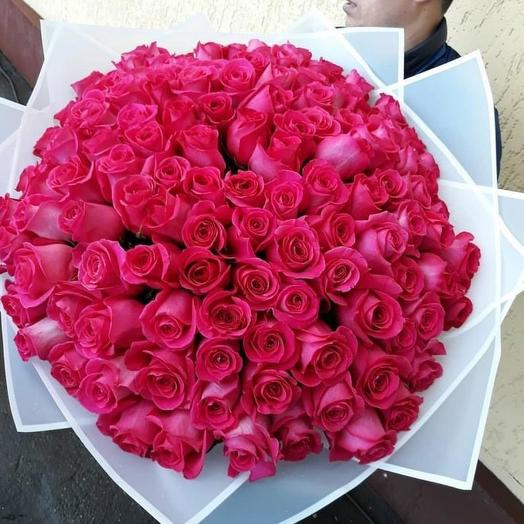 Голландская роза в дизайнерской упаковке  101 шт: букеты цветов на заказ Flowwow