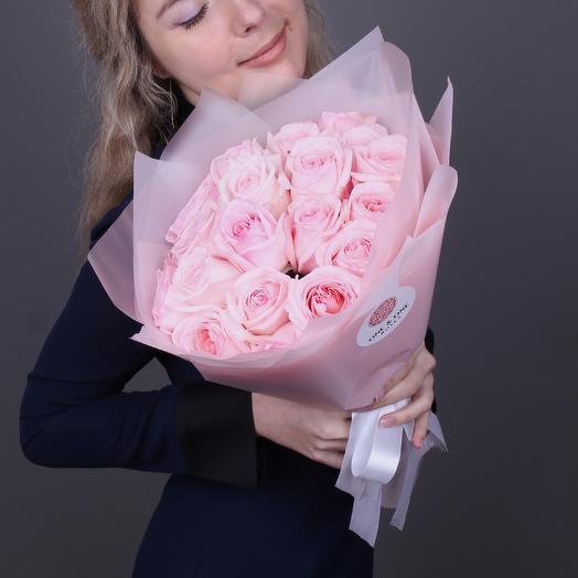 Pink OHara. 19 шт. Парфюмерная пионовидная садовая роза. Luxury-class: букеты цветов на заказ Flowwow