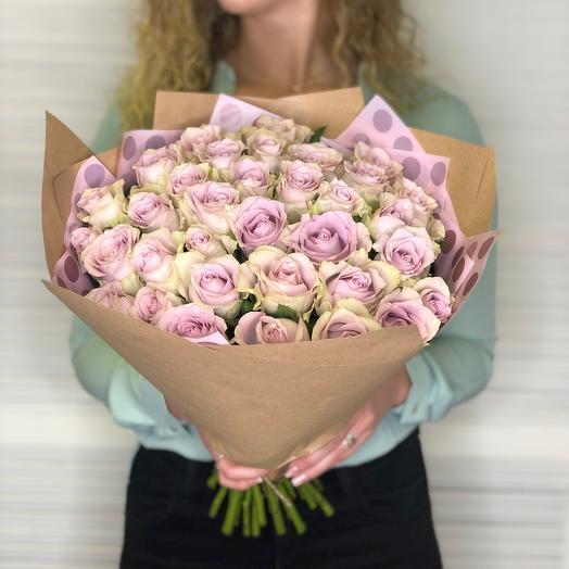 41 сиреневых роз Премиум (45 см)