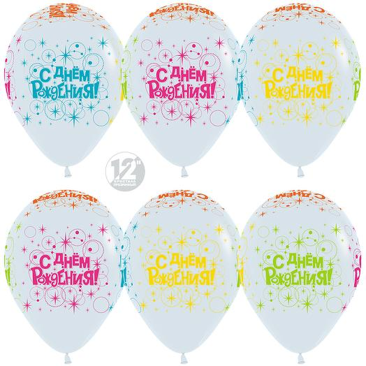 148205 Шар (12*30 см) С Днем Рождения! (разноцветные искры) Белый (005) неон 5 ст флюор 1шт