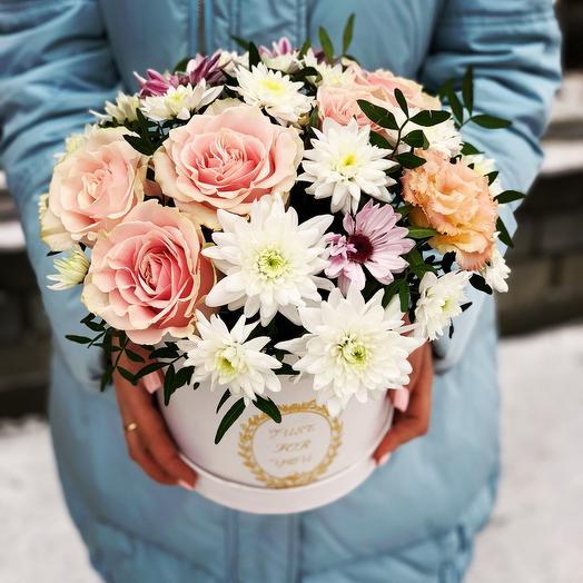 Цветы в коробке «нежность»