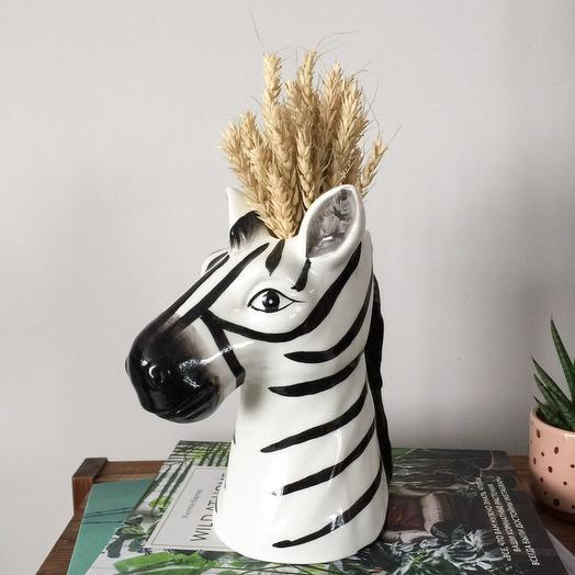 Ваза (кашпо) зебра с сухоцветами (овёс)