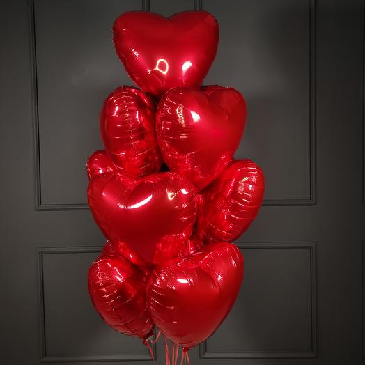 Красные фольгированные сердца 10 шт