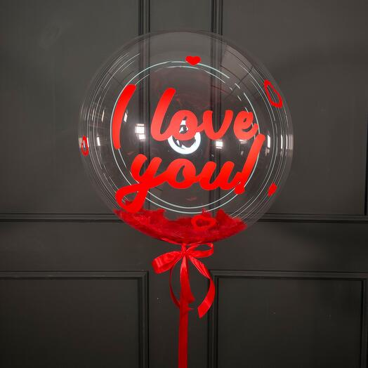 Кристальный шар Bubbles с красными перьями и надписью