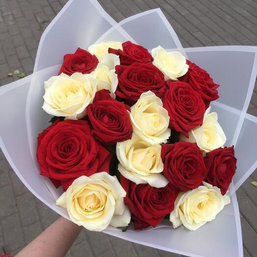 21 красно белая роза