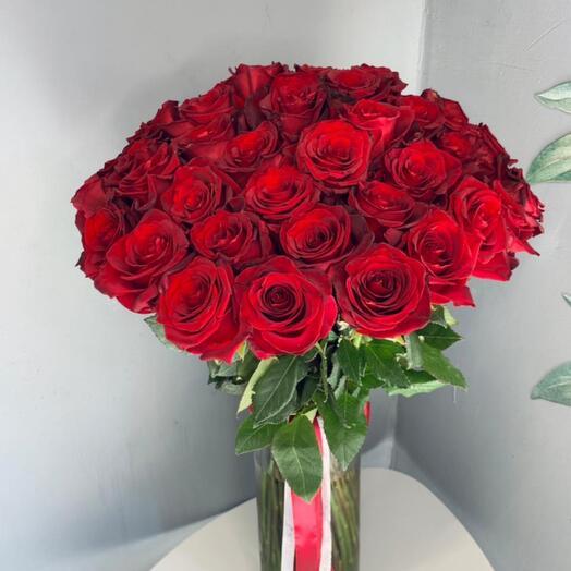 Монобукет 51 красная Роза 60 см