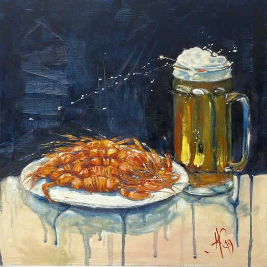 "Картина ""Раки с пивом"" 50*50 см. масло, холст"