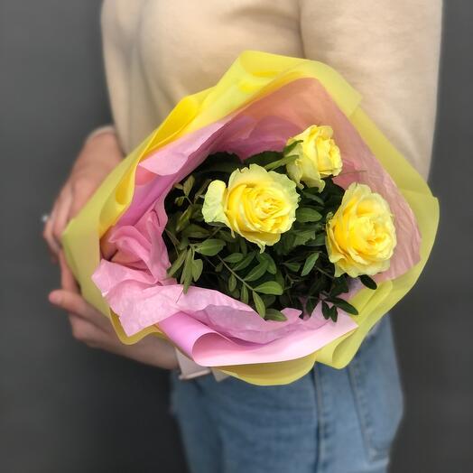 Букет комплимент из желтых роз