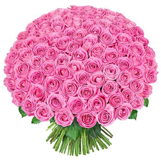 Букет 101 поцелуй в розовом из розовых роз Код 170008: букеты цветов на заказ Flowwow