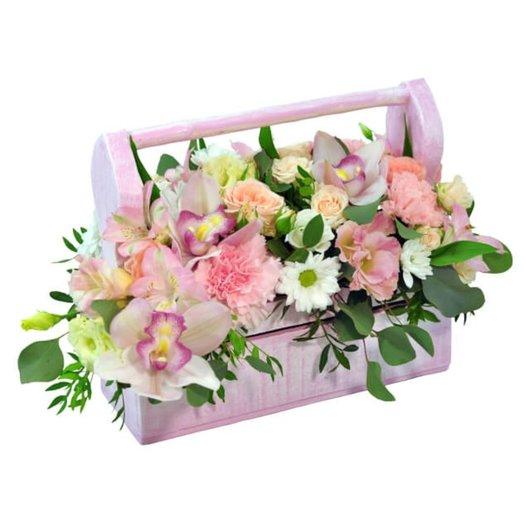 Ящик с цветами Для тебя: букеты цветов на заказ Flowwow