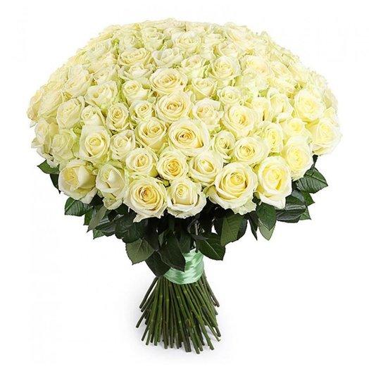 101 роза белая 70 см: букеты цветов на заказ Flowwow