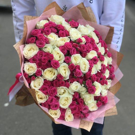 Кустовые розы. Розы Белые. Монобукет.  71 роза. N225