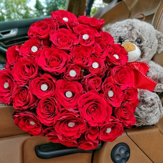 Bouquet Diamond Teddy bear: flowers to order Flowwow