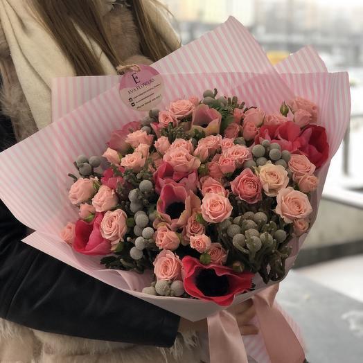 Букет с анемонами: букеты цветов на заказ Flowwow