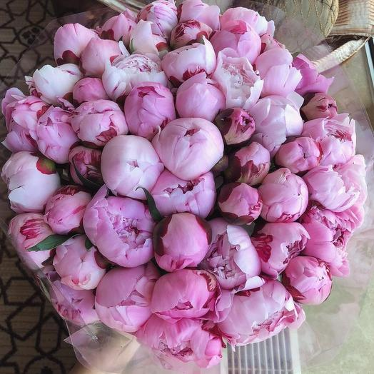 Букет из 51 розового пиона: букеты цветов на заказ Flowwow