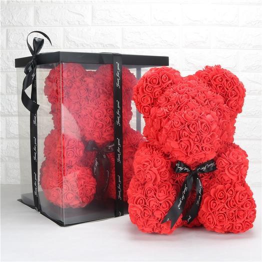 Мишка из роз «В день Святого Валентина»: букеты цветов на заказ Flowwow