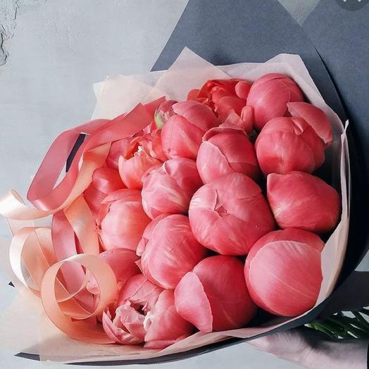 19 коралловых пионов в букете: букеты цветов на заказ Flowwow