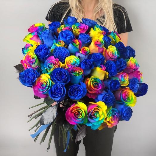 Букет синих и радужных роз: букеты цветов на заказ Flowwow