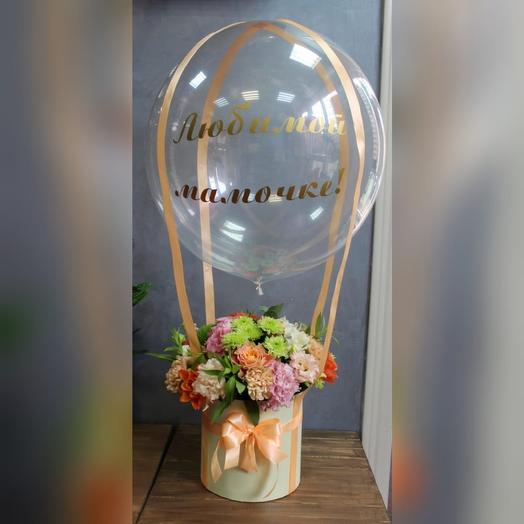 Коробка цветов на воздушном шаре