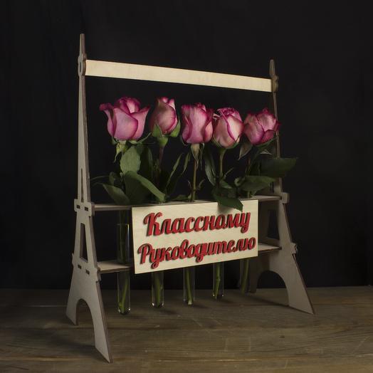 """Композиция """"Классному руководителю"""" из 5 роз: букеты цветов на заказ Flowwow"""