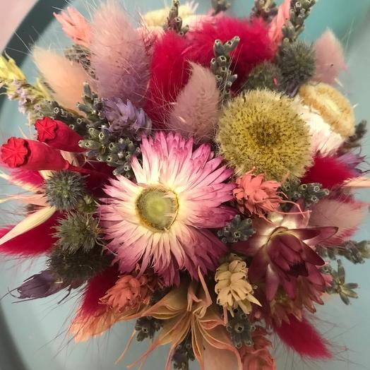 """Ведёрко с сухоцветами 4 """"Ярко-розовое"""": букеты цветов на заказ Flowwow"""