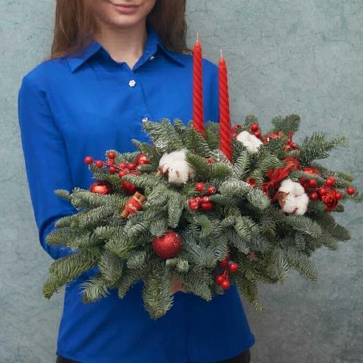 Две рождественские свечи: букеты цветов на заказ Flowwow