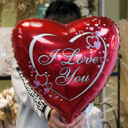 """Фольгированный воздушный шар-сердцем """"I love you"""""""