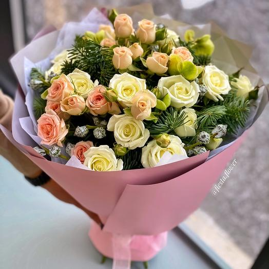 Mix bouquet of spray roses with heleborus, eucalyptus and Nobilis