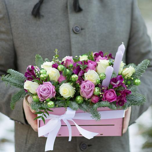 Ящик с цветами «Зимняя ночь»