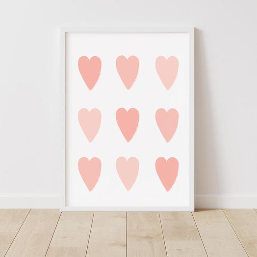 """Poster """"Hearts"""" 30x42 cm in a gift tube"""