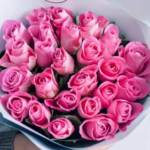 Букет из 25 розовых роз (Кения) 40 см Standart