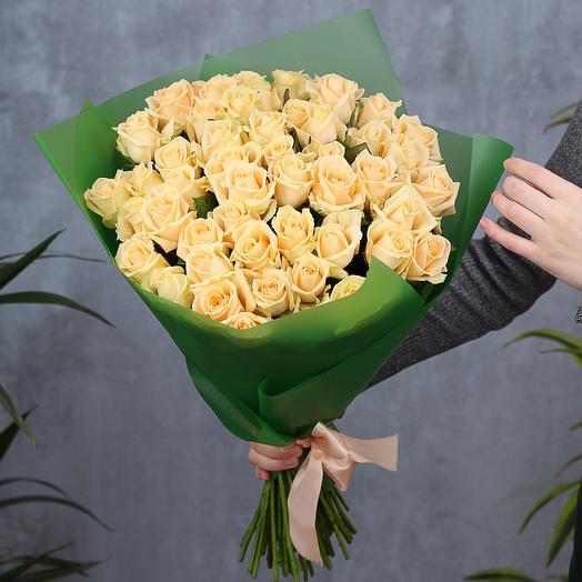 51 кремовая роза 50 см
