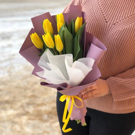 Монобукет из 7 желтых тюльпанов